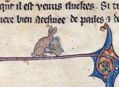 rabbit musicianLe livre de Lancelot du Lac and other Arthurian Romances, Northern France 13th century. Beinecke Rare Book and Manuscript Library, MS 229, fol. 1r