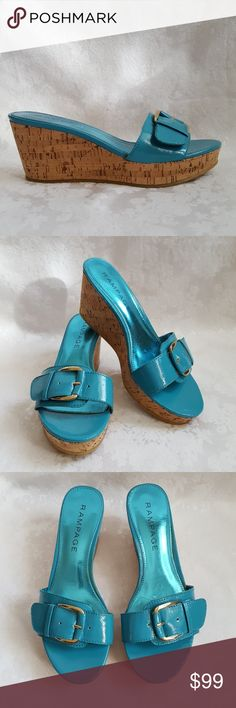 "Like New! Turquoise Cork Wedge Sandal Rampage turquoise blue cork wedge platform sandals with 3"" wedge heel and 1 1/4"" platform. Gold accent buckle. Style is ""Talia"".   Like new! Excellent used condition. Smoke free and pet free home.   Check out my other listings - 100's of 👠shoes👠, 👢boots👢 and 👜bags👜. Bundle 2 or more and save money!💲💵💲 Rampage Shoes Sandals"