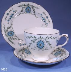 Queen Anne Turquoise and Green Pattern Vintage Bone China Tea Trio ...