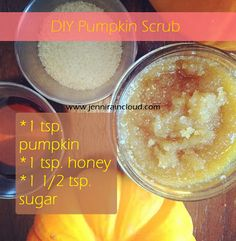 Isn't fall/holiday season over run with Pumpkin recipes? Well, I'm ok with that-the benefits of pumpkin are immense. If you didn't catch my Pumpkin Mask post on Primally Inspir. Diy Body Scrub, Diy Scrub, Diy Pumpkin, Pumpkin Recipes, Pumpkin Mask, Pumpkin Facial, Homemade Beauty, Diy Beauty, Beauty Tips