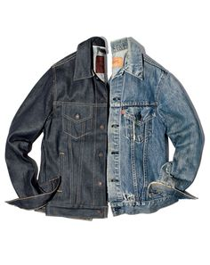 """GQ.com:  5. Go Raw, Dog! A hard denim jacket gets softer, grittier—better—with age    As with jeans, the jean jackets that wear the best over time are made of unwashed, undistressed denim. Check out the two shown here. Twenty years ago, believe it or not, the worn one on the right looked exactly like the brand-new one on the left. We borrowed the old one from Levi's employee Brett Anderson, who stole it from his parents in '95 or '96. Says Anderson, """"Now it's torn, frayed, and totally one of…"""