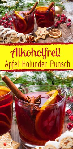 Alkoholfreier winterlicher Apfel-Holunder-Punsch Non-alcoholic and wintry: apple elderberry punch to warm up in winter Winter Drink, Winter Food, Healthy Starbucks Drinks, Alcholic Drinks, Christmas Drinks, Christmas Punch, Winter Christmas, Christmas Recipes, Alcohol Recipes