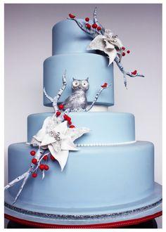 Winter Wonderland Wedding Cake | Avalon Cakes #owl #sparkle #poinsettias #periwinkleblue