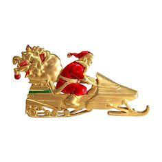 Santa Snowmobile Sled JJ Christmas pin brooch