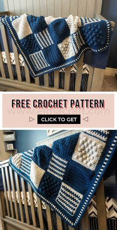 Creighton& Blanket FREE Pattern - FREE crochet pattern for baby blankets to start with . Creighton & # s Blanket FREE Pattern – FREE crochet baby blanket pattern for beginners. Crochet Pattern Free, Crochet Motifs, Crochet Stitches, Crochet Quilt, Easy Knitting Projects, Crochet Projects, Baby Patterns, Knitting Patterns, Afghan Crochet Patterns