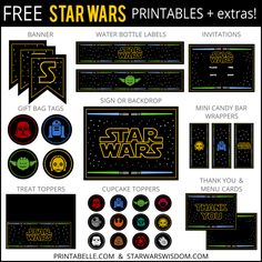 The free printable Star Wars party set includes gift tags, Hershey's Kiss…