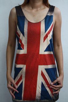 British Flag UK Union Jack rock mens t-shirt women tank tops vest tee ladies T-Shirt tunic screenprint emo pop indies punk singlet top vest. $14.99, via Etsy.