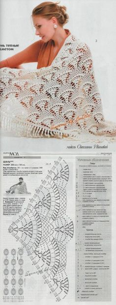 - Here's a gorgeous Russian shawl pattern with charts. It would take some time to make, but really doesn't look difficult at all :) Enjoy from Lace Knitting Patterns Шаль Crochet Bolero, Bonnet Crochet, Crochet Shawls And Wraps, Crochet Diagram, Crochet Chart, Love Crochet, Crochet Scarves, Crochet Clothes, Crochet Lace