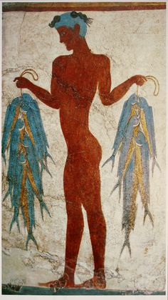 Fresco of a fisherman. Akrotiri was a Minoan settlement on Santorini Island, Greece and was buried by the Theran eruption in the middle of the 2nd millennium BC. Extensive modern excavation was started in 1967 by Spyridon Marinatos, and revealed the full value of this site.