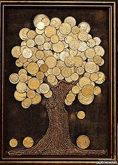 Coffee beans on burlap art great idea for using old coffee beans! Diy Cork, Coin Crafts, Creative Money Gifts, Burlap Art, Coin Art, Money Trees, Art N Craft, Button Art, Recycled Art