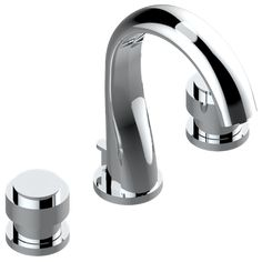 Rim mounted 3-hole basin mixer and pop-up waste for marble | U4A-151M — Diplomate smooth rings — THG