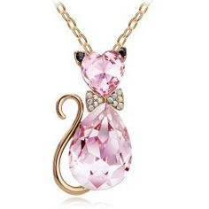 18K Gold Plated Rhinestone Crystal Cute Lovely Cat Pendant fashion Necklace