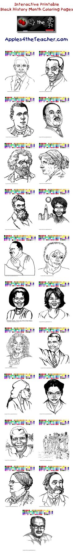 Printable interactive Black History Month coloring pages, Black History Month coloring pages for kids.