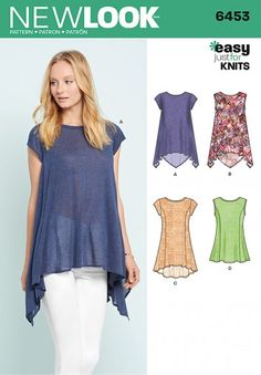 f4b618bec1e New Look Pattern 6453 - Misses  Easy Knit Tops. Misses  easy to sew knit top  pattern with asymmetric hemlines