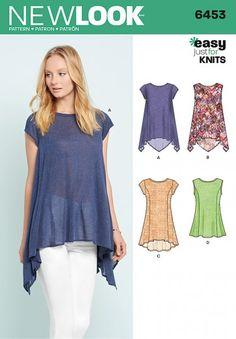 aa8d62f7303a48 New Look Pattern 6453 - Misses  Easy Knit Tops. Misses  easy to sew knit  top pattern with asymmetric hemlines
