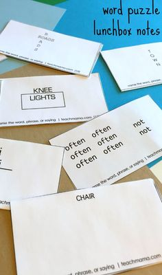 These word puzzle lunchbox notes are so much fun for kids and their friends. Get this FREE printable with tons of  word play and word games for on the go! #teachmama #wordpuzzles #printable #freeprintable #lunchbox #lunchboxnotes #criticalthinking