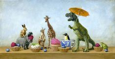 Dino Tea Party: Pearls, parasols, dinosaurs, tea and desserts. I love finding unique, affordable art on Etsy and these prints from Sautter Pictures are right up HonestlyWTF's alley. Does it get any better than this?