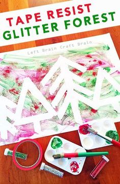 This Tape Resist Glitter Forest is a Five Minute Craft that is so simple to set up but is big on fun. And glitter! Great for Christmas. (Five Minutes Crafts) Preschool Christmas, Christmas Crafts For Kids, Christmas Activities, Kids Christmas, Holiday Crafts, Christmas Glitter, Christmas Games, Holiday Ideas, Glitter Crafts