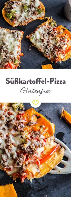 Gluten free: Sweet potato pizza with minced meat-Frei von Gluten: Süßkartoffel-Pizza mit Hackfleisch Brush the flour off your shopping list and put sweet potatoes on it and conjure up a base for your pizza that you can top it off with. Grilling Recipes, Meat Recipes, Vegetarian Recipes, Dinner Recipes, Healthy Recipes, Pizza Recipes, Vegetarian Cooking, Chicken Recipes, Vegetarian Lifestyle