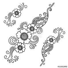 Vektör: Henna tattoo flower template.Mehndi.
