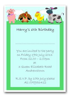 Personalised Invite. Childrens Birthday Party Invitations Farm Animals x10