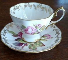 Vintage Royal Albert Tea Cup and Saucer Set - Pink Cabbage Roses Teacup