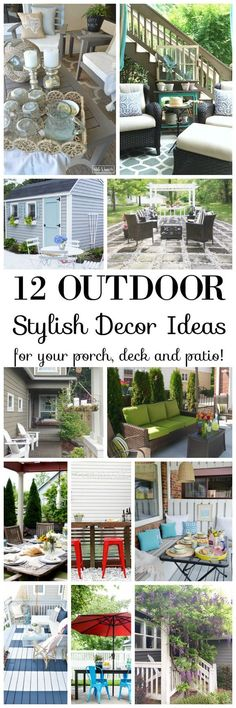 Add summer coziness and relaxed beauty to your outdoor home spaces with these 12 stylish DIY decor ideas for your porch, deck and patio! - Home Decoration and Diy Outdoor Rooms, Outdoor Gardens, Outdoor Living, Outdoor Decor, Outdoor Ideas, Diy Patio, Backyard Patio, Patio Ideas, Porch Ideas