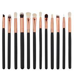 12 Pçs/set Pincéis de Maquiagem Profissional Cosméticos Sintético Macio Foundation Eyeshadow Lip Brush Tool