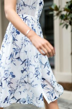 printed blue and white dress