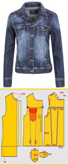 Chaqueta en Jeans con patrones #patrones #moldes #patronaje #costura