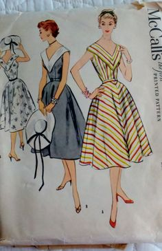 Another fab 50s look vintage style fashion dress full skirt day stripes yellow red black white v neckline summer casual color illustration print ad pattern