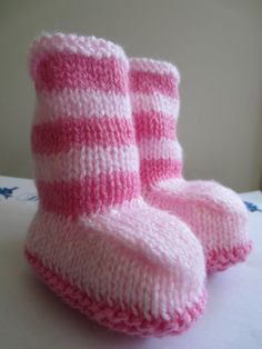Knitted Baby Booties  Pink Stripes  0 to  by beausbitsandbobs, £7.00