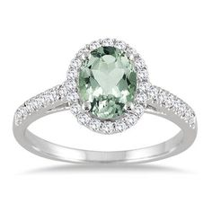 1.50 Carat Oval Green Amethyst and Diamond Halo Ring in 10K White Gold