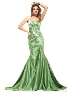 Trumpet/Mermaid One-Shoulder Sweep Train Satin Evening Dress With Ruffle Appliques Lace