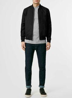 Black Cotton Bomber Jacket - Bomber Jackets - Clothing - TOPMAN