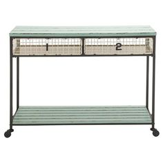 Extraordinarily Designed Metal Wood Storage Console Table Green - Woodland Imports : Target