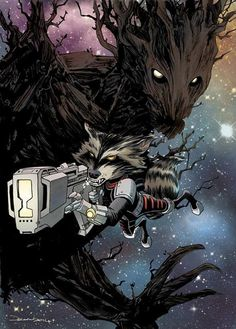 Rocket Raccoon and Groot by Declan Shalvey