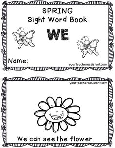 This little Pre-Primer Sight Word Book {FREEBIE} allows students to practice the sight words: can, see, the, we. A Spring theme provides for discussion of Spring related things including: ladybug, butterfly, flower, bunny, umbrella, raincoat, etc. I created this book for my primary ESOLs, and it would be perfect for pre-primer Kinders as well. Preschool Ideas, Teaching Ideas, Preschool Sight Words, Pre Primer Sight Words, Create This Book, Teacher Assistant, Emergent Readers, Spring Theme, Your Teacher