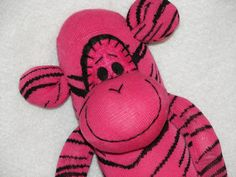 Sock Monkey Doll Plush Toy  In Pink with by AsYouWishCreations4u, $30.00