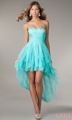 Ruffled High Low Strapless Sweetheart Dress at PromGirl.com