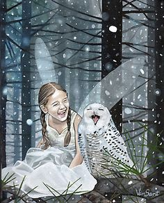 'Snow Fairy' Photographic Print by Susan Morgan (Van Sant) A small fairy and her best friend, Mr Owl, laughing uncontrollably in the moonlight. The cold winter's gloom does nothing to darken their spirits. Fantasy Kunst, Fantasy Art, Fantasy Makeup, Magical Creatures, Fantasy Creatures, Fairy Land, Fairy Tales, Fairytail, Kobold