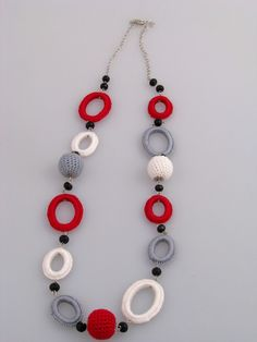off sale Crocheted jewelry setThis elegant system is made of crochet balls and oval rings in red, white and gray combined with onymake bead necklace designs Crochet Rings, Crochet Ball, Crochet Bracelet, Fabric Jewelry, Beaded Jewelry, Leather Jewelry, Wire Jewelry, Diy Crafts Jewelry, Handmade Jewelry