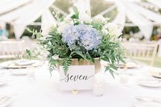 Blue Hydrangea Centerpieces A Classic St. Petersburg Wedding with 1920s Style via TheELD.com Blue Hydrangea Centerpieces, Wedding Centerpieces, Wedding Designs, Wedding Styles, Pink Hotel, Renaissance Hotel, 1920s Style, Wedding Costs, Event Services