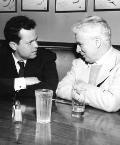 Orson Welles and Charlie Chaplin having lunch at the Brown Derby in Hollywood, 1947