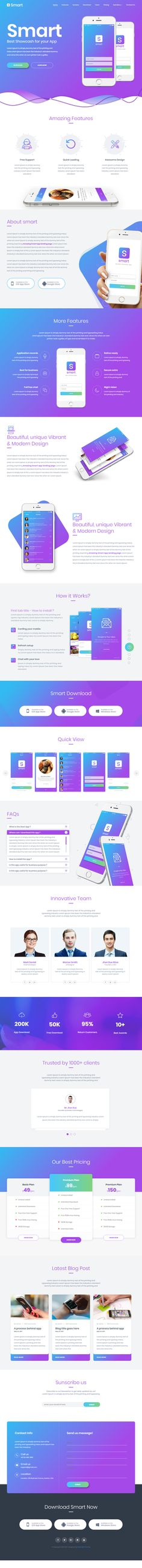 Smart is Premium Retina Responsive Retina #HTML5 Template. Bootstrap Framework. Parallax Scrolling. One Page. If you like this #MobileApp Template visit our handpicked list of best HTML5 #LandingPage Templates at: http://www.responsivemiracle.com/best-html5-landing-page-templates-2018/