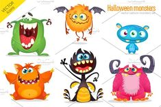 Cute Halloween monster characters and icons great for print and holiday decoration. Color mode is Funny Monsters, Cartoon Monsters, Cute Cartoon Characters, Monster Characters, Treasure Maps For Kids, Tooth Cartoon, Monster Pictures, Monster Illustration, Monster Face