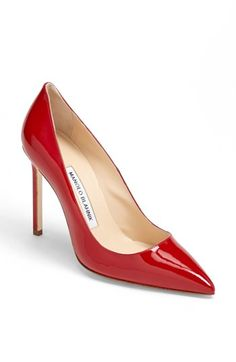 Love. That. Red. Manolo Blahnik 'BB' Pointy Toe Pump available at #Nordstrom