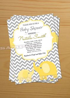 Elephant Baby Shower Invitation Gender Neutral Baby Shower Invitation Baby Shower Invites Yellow Printable - FREE Thank You card Printable. $10.00, via Etsy.