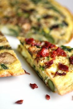 Frittata with spinach, mushrooms, asparagus, and onion!  Sounds tasty!