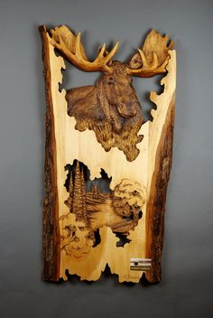 Moose Carved on Wood Wood Carving with Bark Hand by DavydovArt